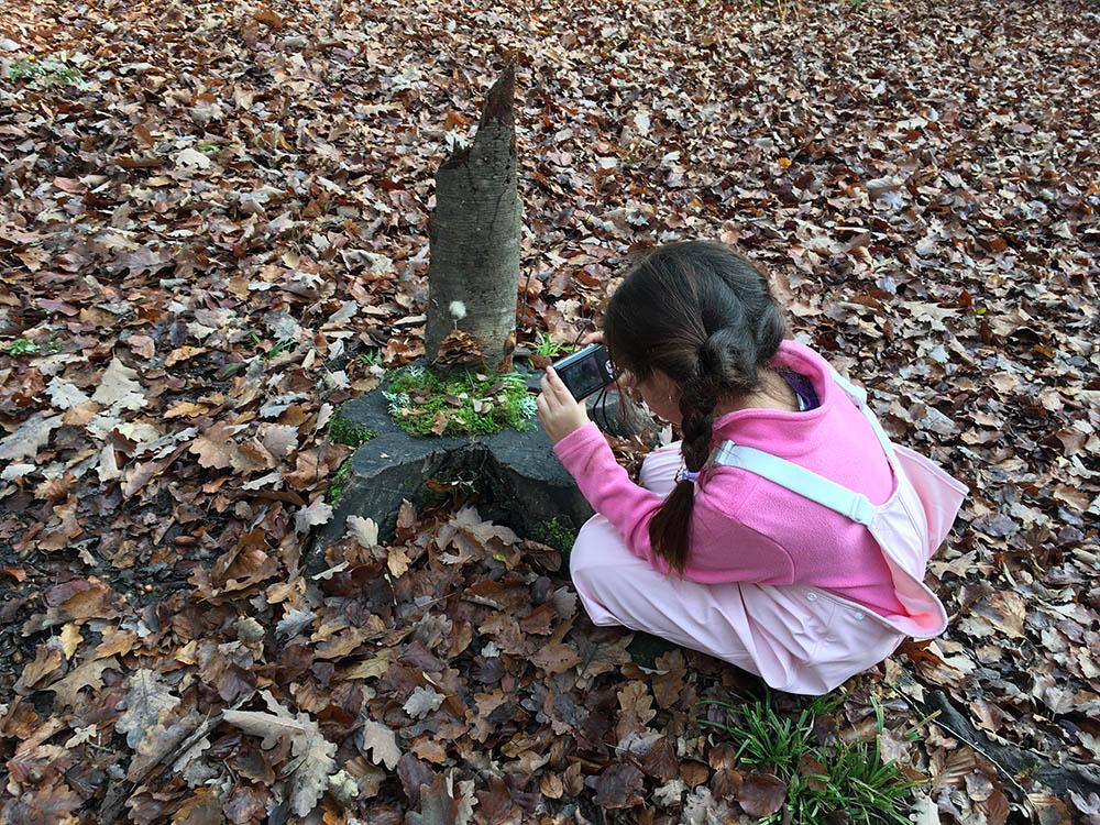 Elève jouant dans les bois lors de l'école en forêt